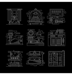 Hotel services white line icons set vector image