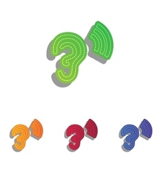 Human ear sign Colorfull applique icons set vector