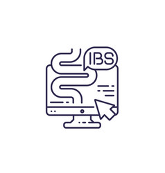 Ibs irritable bowel syndrome line icon vector
