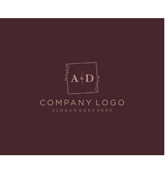 Initial ad letters decorative luxury wedding logo vector