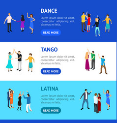 isometric dancing people banner horizontal set vector image