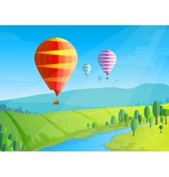 Landscape with balloons vector image