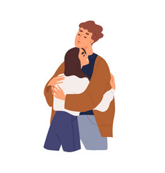 Love couple man and woman hugging girlfriend vector