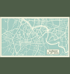 Lucknow india city map in retro style outline map vector