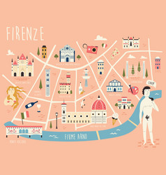 Map florence with famous symbols vector