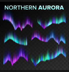 Northern aurora set polar sky night shiny vector