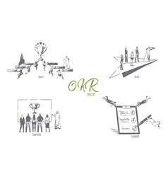 okr target focus teamwork planning concept vector image