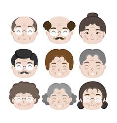 Old people cartoon avatars set cartoon vector