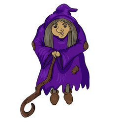 Old witch with wooden stick vector