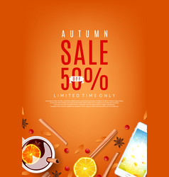 orange flyer for autumn sale vector image