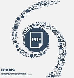 PDF Icon in the center Around the many beautiful vector