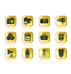 Photography equipment and tools icons vector image