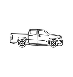 Pickup truck vehicle wheel transportation outline vector