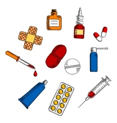 Pills drugs and medication icons vector image