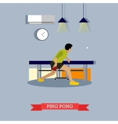 Ping-pong player trains in club flat design vector