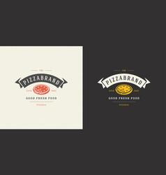 Pizzeria logo pizza silhouette vector