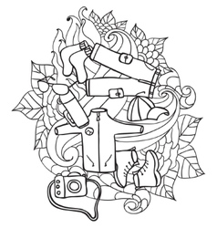 Recreation Tourism and camping Hand drawn doodle vector image