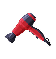 Red blow hair dryer for drying hair flat style vector