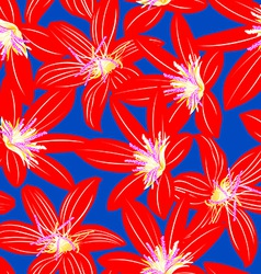 Red tropical hibiscus floral design seamless vector