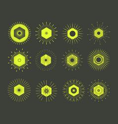 Retro sun burst shapesvintage logolabelsbadges vector