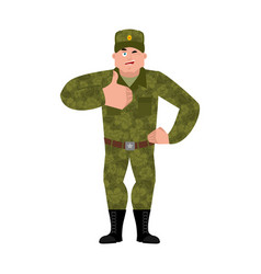 Russian soldier thumbs up and winks warrior merry vector