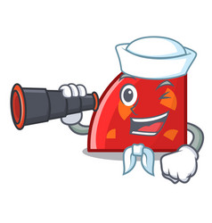 Sailor with binocular quadrant mascot cartoon vector