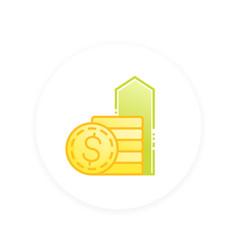 Salary raise icon vector