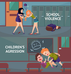 school conflicts horizontal banners vector image