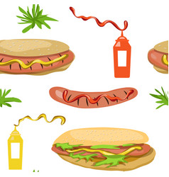 seamless background hot dog vector image