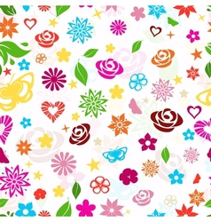 Seamless pattern of multicolored flowers vector image