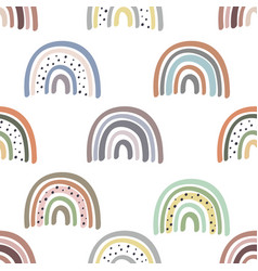 seamless pattern with pastel rainbows vector image