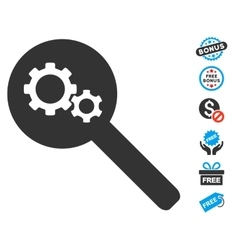 Search Gears Tool Icon With Free Bonus vector image