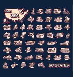 Set 50 us states presidential vote in usa 2020 vector