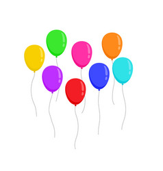 set fly flat colors balloons isolated on white vector image