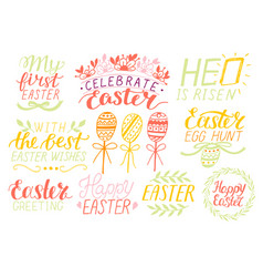 set of 9 hand lettering quotes about easter vector image