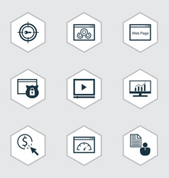set of 9 marketing icons includes security vector image