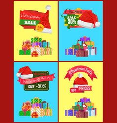 Set of christmas sale promo stickers hats labels vector