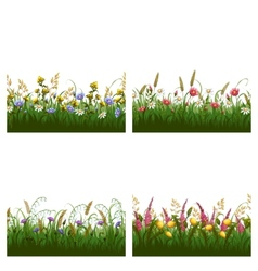 set of seamless horizontal floral patterns vector image