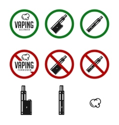 Set of vape signs and icons vector