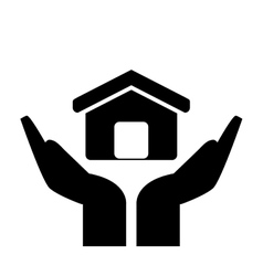 sheltering hands and house icon vector image