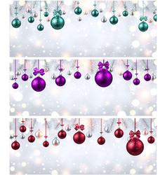 shiny banners with colorful christmas balls vector image