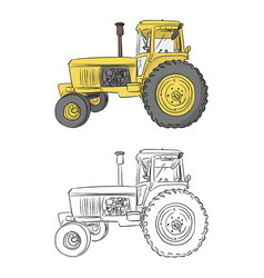 Side view retro yellow tractor vector
