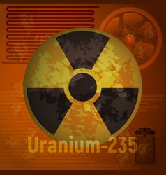 Sign of radiation uranium 235 vector