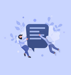 small people flying around chat bubble talking vector image