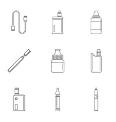 smoke vaping icon set outline style vector image