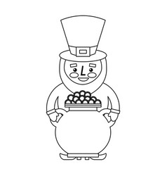 st patrick leprechaun holding pot full coins vector image