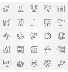 Success icons linear set vector