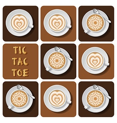 Tic-tac-toe of latte art vector