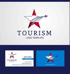 Travel austria flag creative star logo and vector