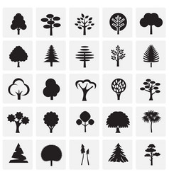 Trees icon set on squares background for graphic vector